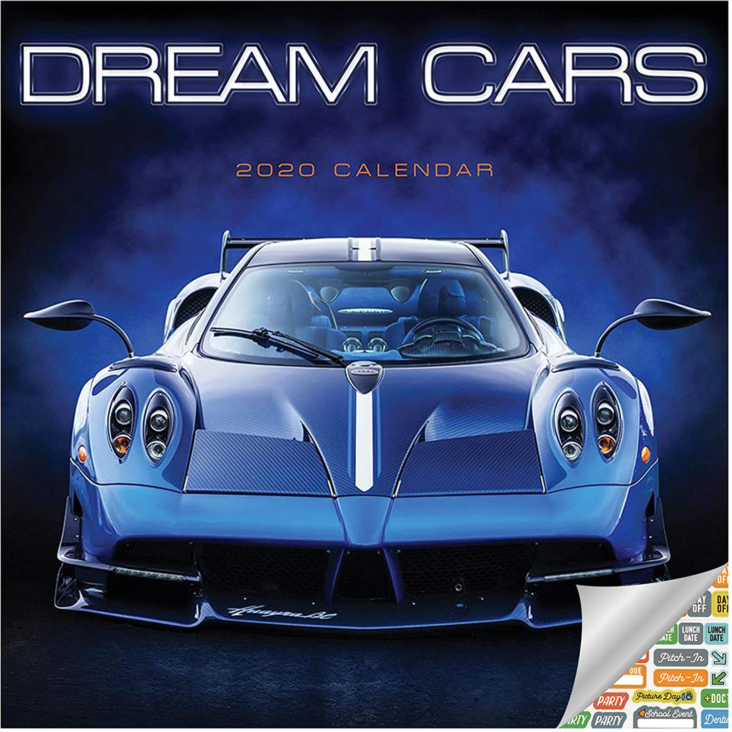 Dream Cars Calendar 2020 Set Exotic Cars Gifts, Office Supplies Deluxe 2020 Supercars Wall Calendar with Over 100 Calendar Stickers