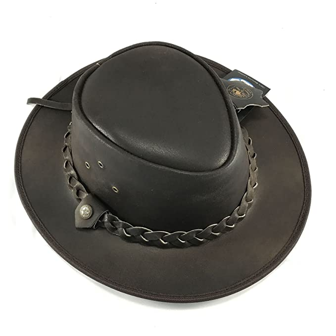 Wombat Unisex Soft Brown Distressed Style Crushable Leather Bush Hat Chin Strap Men/'s Woman/'s