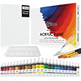 24 Colors Acrylic Paint Set with Canvas, Brushes, Palette & Knife by Articue - A Complete Canvas Painting Kit for Adults…