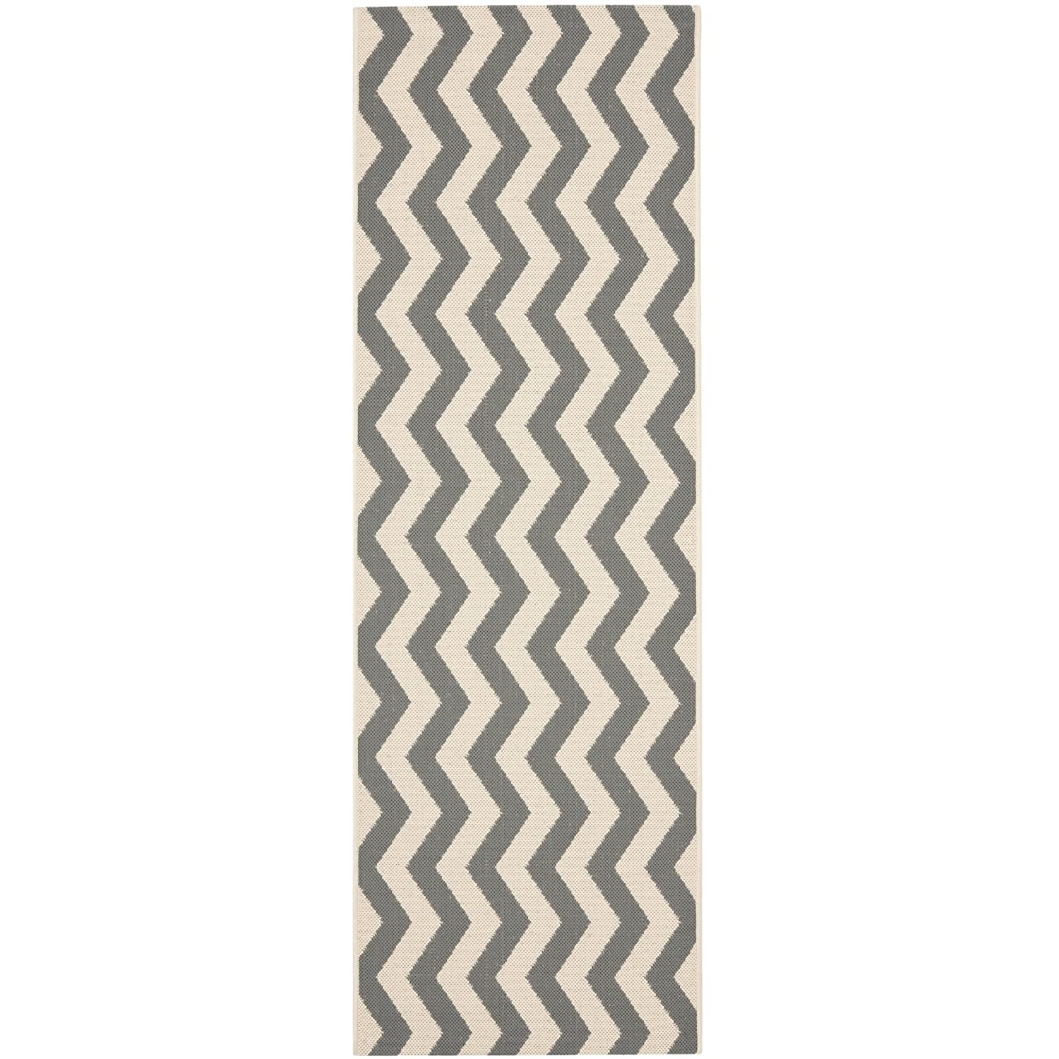 Safavieh Courtyard Collection CY6245-256 Black and Beige Indoor/Outdoor Runner, 2 feet 3 inches by 6 feet 7 inches (2'3 x 6'7) CY6245-256-27