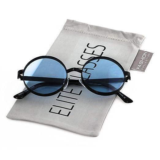 5006f0b11bf Elite CLASSIC 60 s Vintage Retro LENNON Style Round Frame Sumglasses (Black  Blue