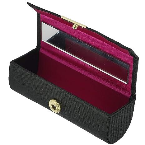 Estuche para pintalabios con cierre de botón de la marca Fantasia. Longitud: 8,7 cm, altura: 3 cm, color negro, con espejo