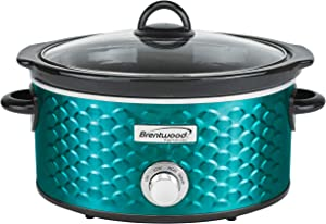 Brentwood SC-140BL Slow Cooker Scallop Pattern, 4.5 Quart, Blue