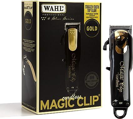Wahl Professional 5-Star Limited Edition Clip mágico inalámbrico negro y dorado #8148-100 – ideal para barberos y estilistas – Cortapelos de precisión inalámbrico con características: Amazon.es: Belleza