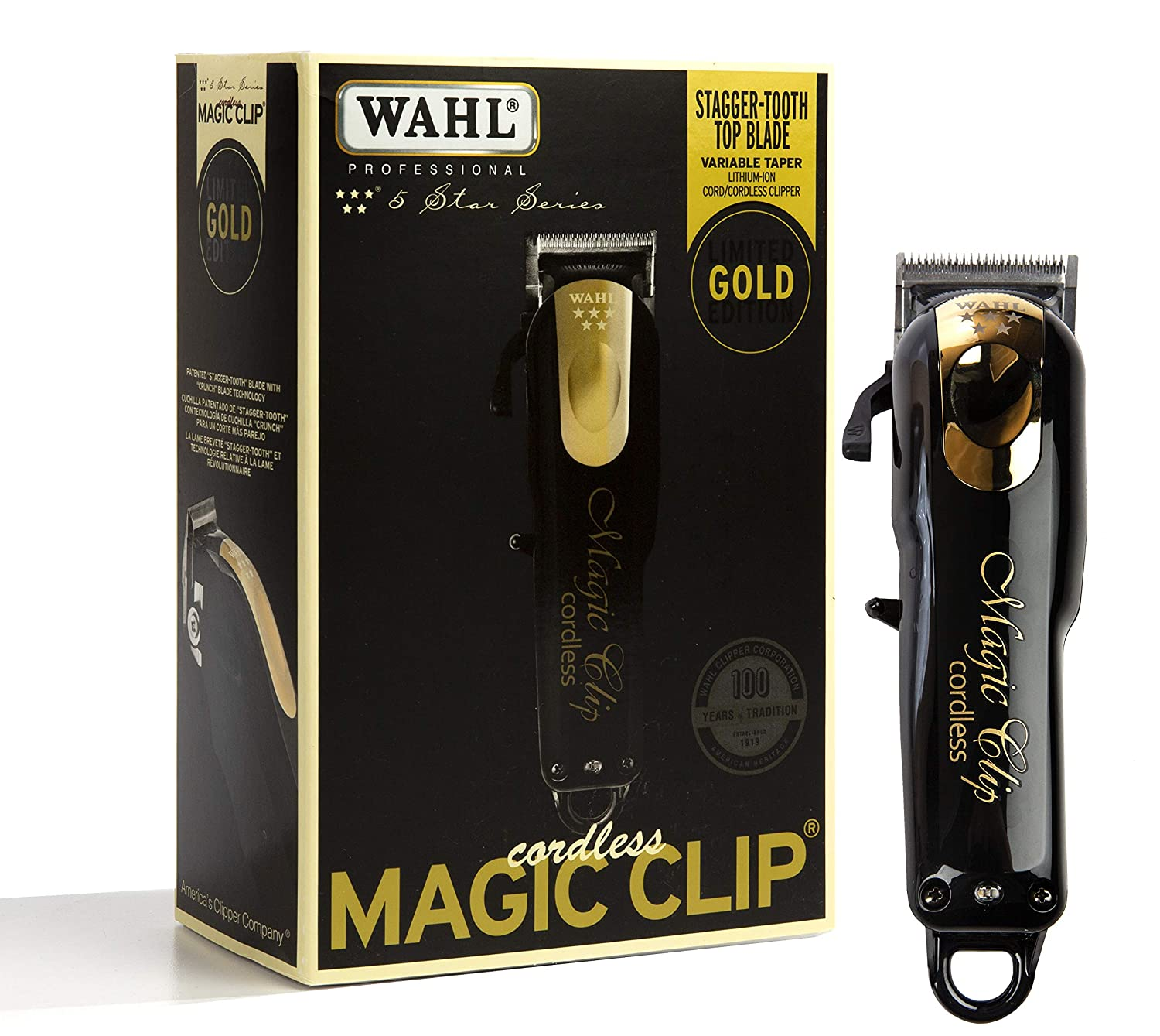 Wahl Professional 5-Star Limited Edition Black Gold Cordless Magic Clip 8148-100 Great for Barbers and Stylists Precision Cordless Fade Clipper Loaded with Features