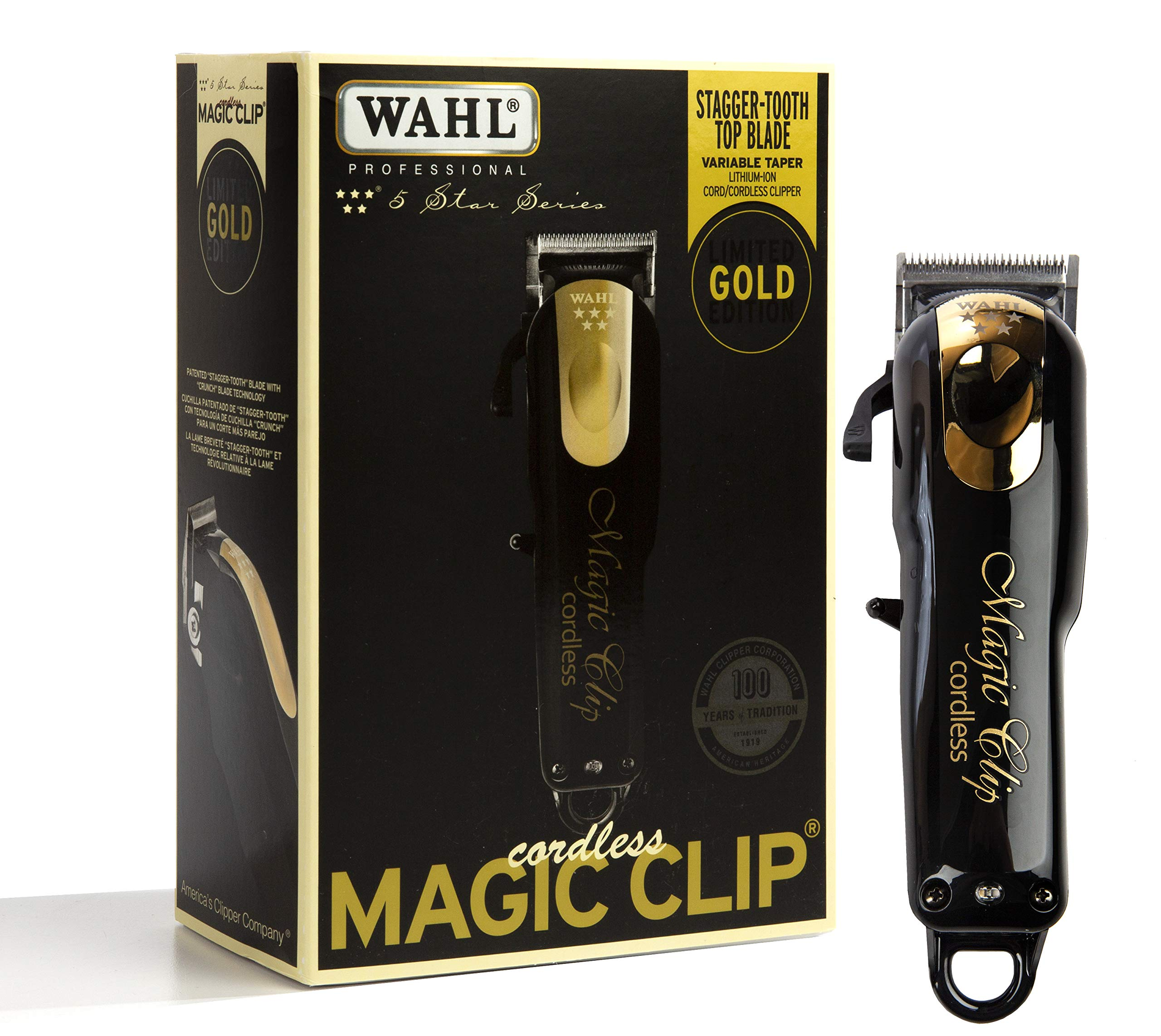 Wahl Professional 5 Star Limited Edition Gold Cordless Magic Clip #8148, Black, 1 Count