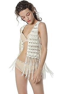 9ec76fe746776 Acemi Women Sleeveless Crochet Hippie Long Tassels Vest With Fringe 70s Cover  up Cardigans For Female