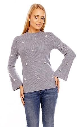 Luizacco Damen Pullover in Rippoptik mit Perlen, Farbe:Grau