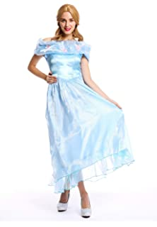 6ed26d937a96 dressmeup - W-0220 Costume Donna Carnevale Principessa Fata Abito da Ballo  Azzurro Taglia M