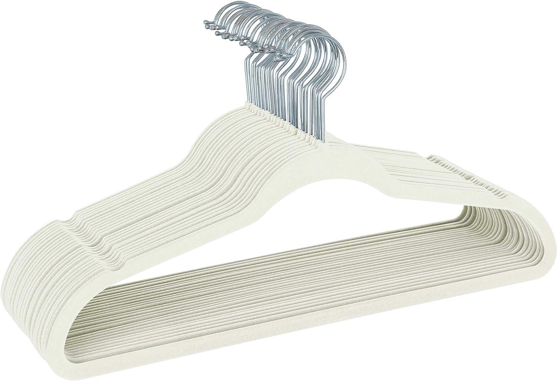 Simplify 100 Pack Slim Velvet Suit Hangers in Ivory