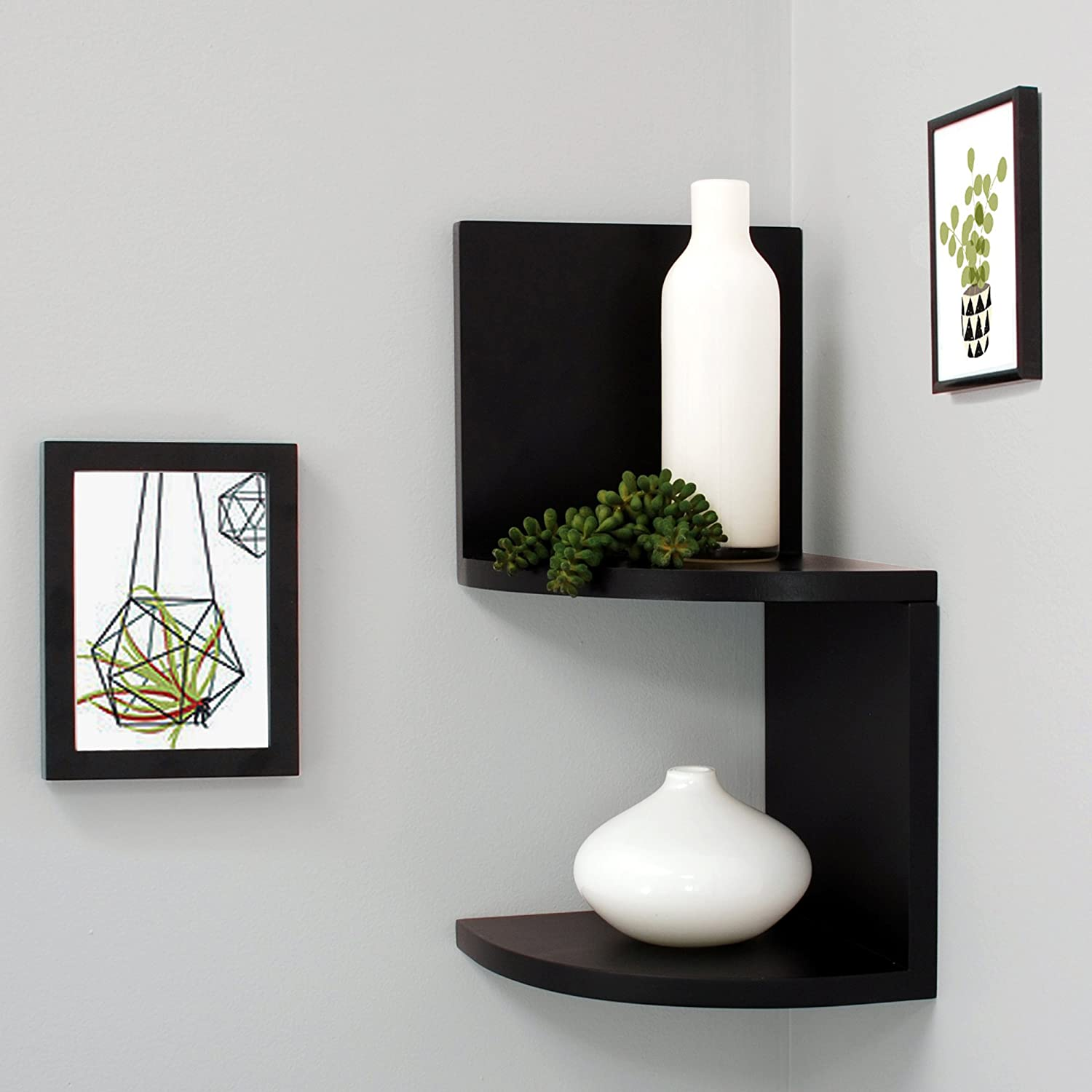 Design Corner Wall Shelves amazon com kiera grace priva 2 tier corner shelf 7 75 inch by per black home kitchen