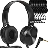 Bulk Classroom Headphones - 10 Pack - Over Ear Student Head Phones: Perfect for Kids in Classrooms, Schools, Libraries, Class