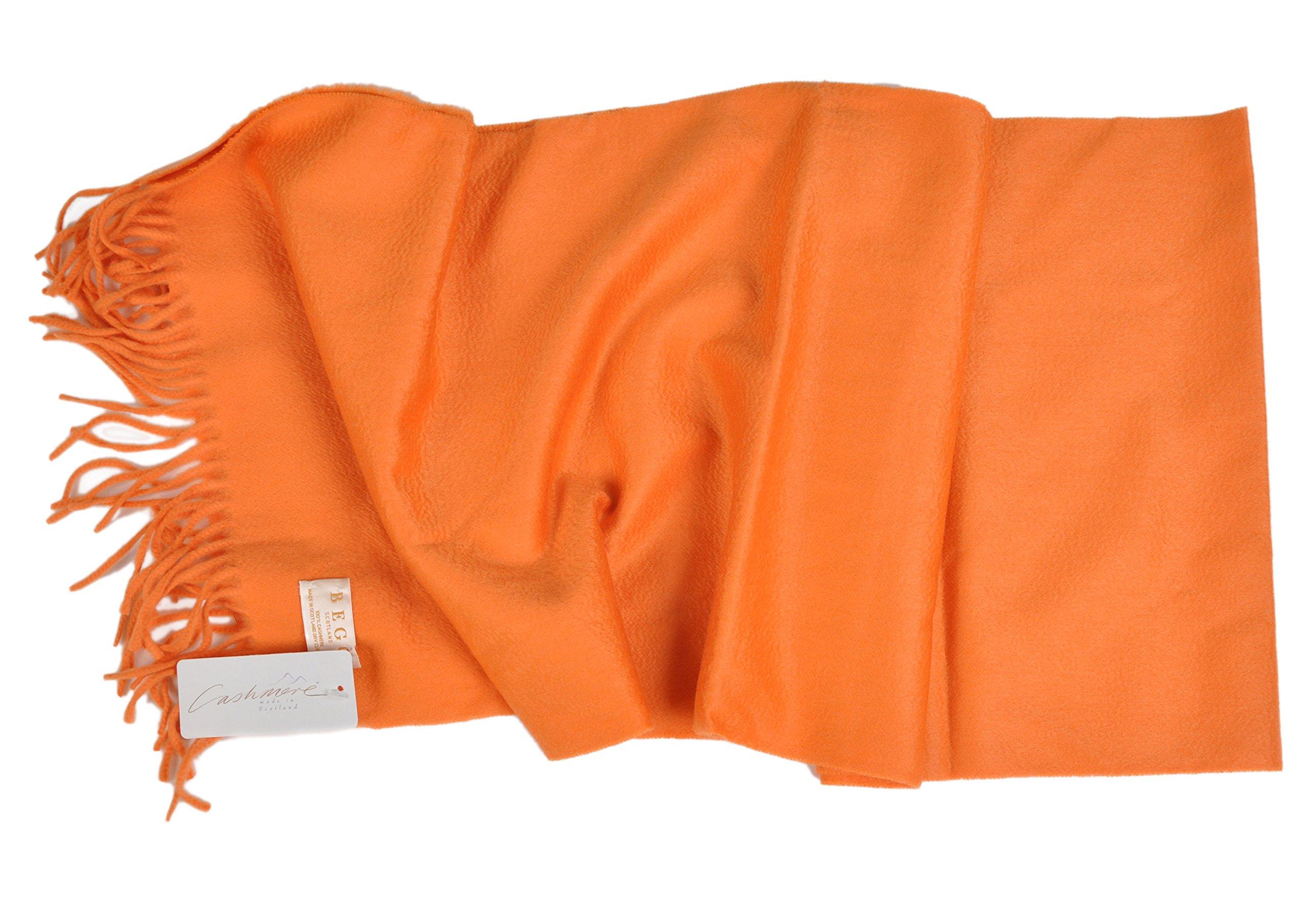 Begg-Scotland 14''x72'' Pure Luxury Cashmere Large Scarf - Mandarin