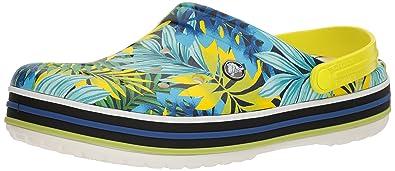 crocs Unisex-Erwachsene Crocband Tropical Graphic V Clog White/Tennis Ball Green