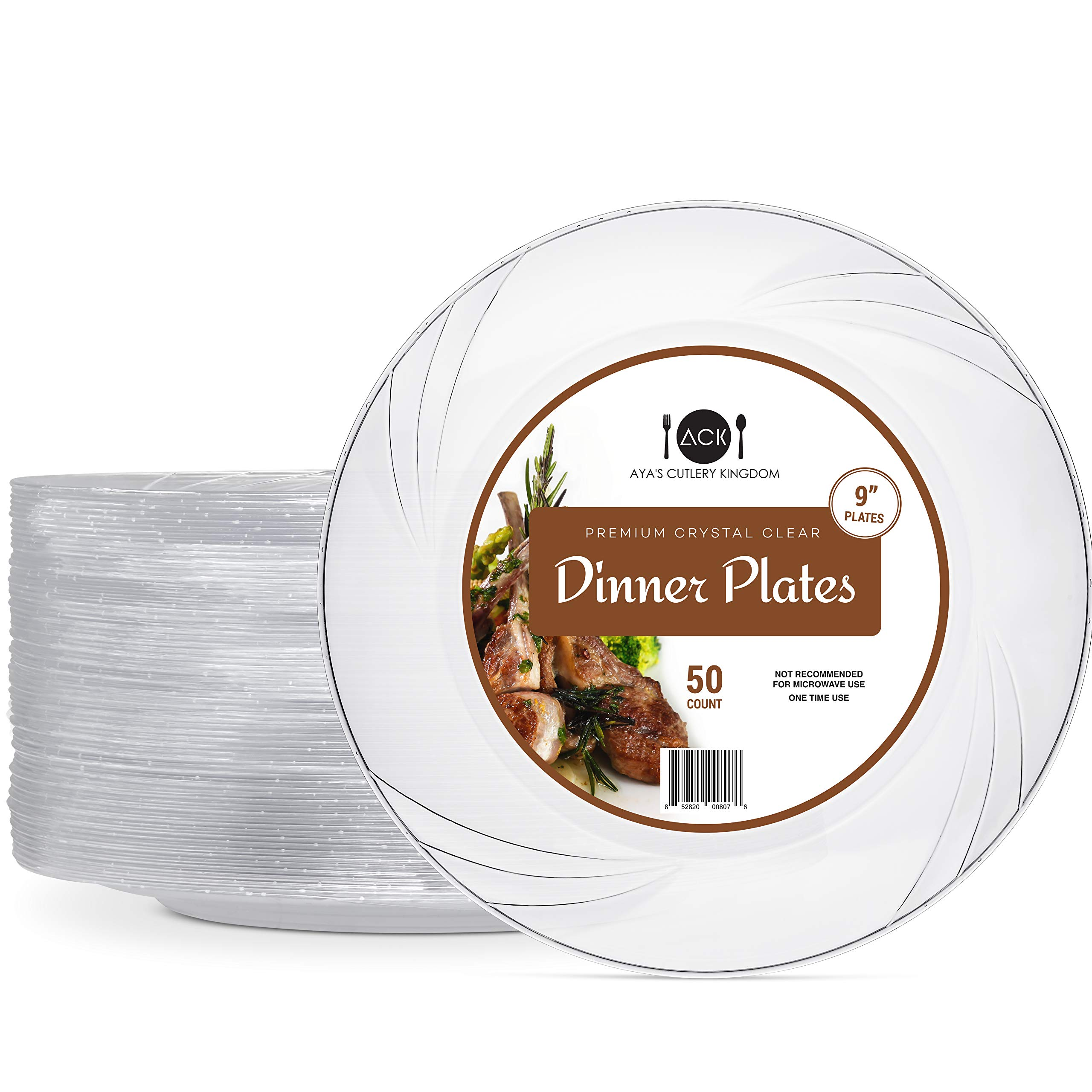 """Disposable Clear Plastic Plates - 50 Pack - 9"""" Round Dinner Size - Premium Quality Hard and Elegant Party Goods - For Parties and Everyday Use - Aya's Cutlery Kingdom"""