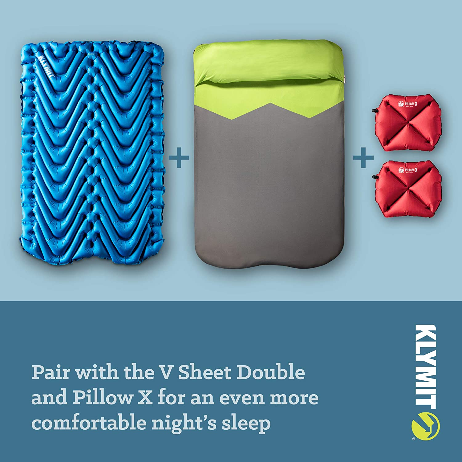 Two Person Tents and Backpacking 47 inches KLYMIT Double V Sleeping Pad Double Wide 2 Person Travel Lightweight Comfort for Car Camping