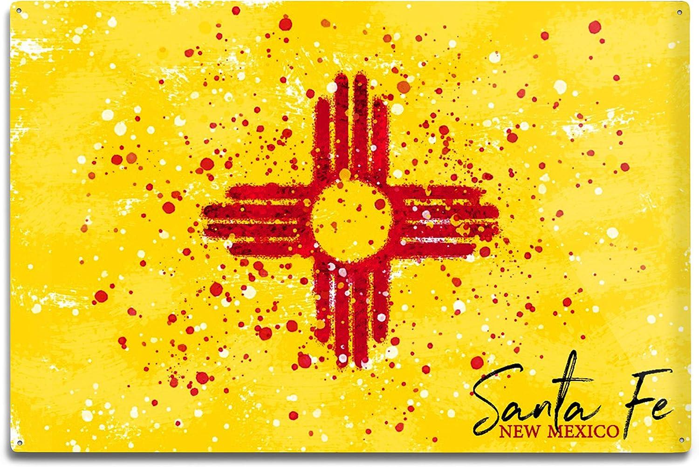 Amazon Com Lantern Press Santa Fe New Mexico State Flag Abstract Watercolor Splatter 96980 10x15 Wood Wall Sign Wall Decor Ready To Hang Wall Art