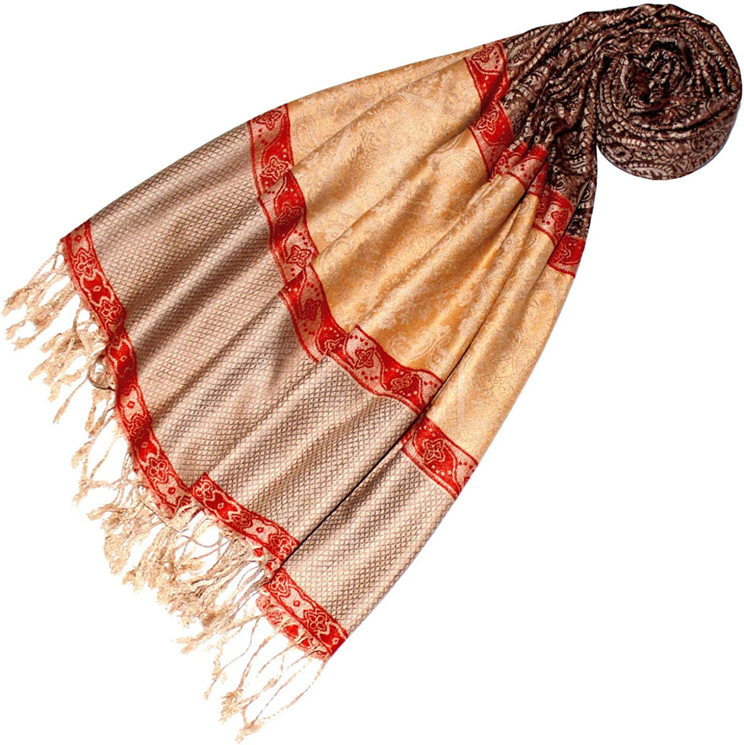 handgefertigt in Indien Pashmina indisches Paisleymuster traditioneller Jacquard-Schal Bohomonde Jyati Schal