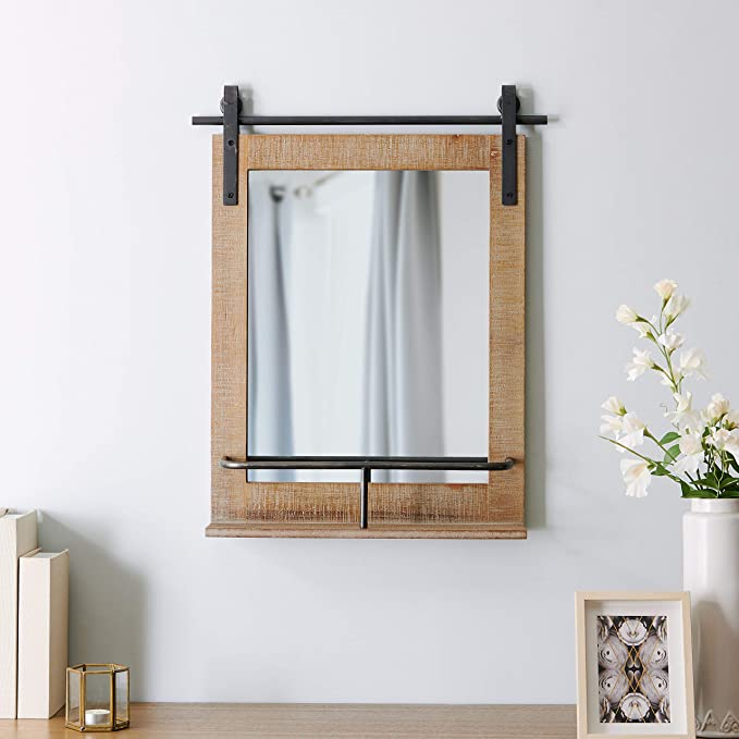 Firstime Co Ingram Barn Door Shelf Wall Mirror 25 H X 20 W Rustic Wood Metallic Gray Furniture Decor