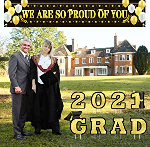 Graduation Yard Signs Set - WE are SO Proud of You Banner and 2021 Grad Yard Signs, Gold and Black Decorations Party Supplies Waterproof for Graduation Party Indoor/Outdoor Lawn Supplies Decor
