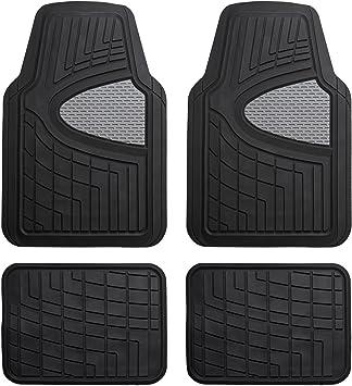 FH Group F11311GRAYBLACK Gray//Black Heavy Duty Tall Channel Rubber Floor Mats
