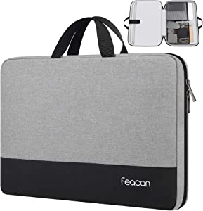 Feacan Laptop Sleeve, 15.6 inch Laptop Case Briefcase for Acer / Dell / HP / Lenovo Notebook Ultrabook Chromebook, Water Resistant Handle Carrying Computer Bag, Grey