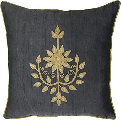 Poly Dupion Floral Embroidered Pillow Cover Decorative Gray Square Cushion Case
