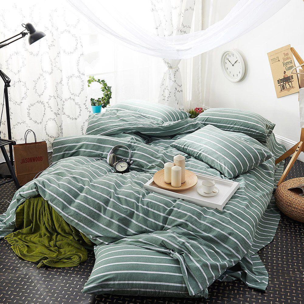 green duvet cover set queen striped duvet cover cotton luxury bedding set girls ebay. Black Bedroom Furniture Sets. Home Design Ideas