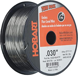 Hobart H222106-RTP 0.030-Inch Gasless Flux-Cored Wire, 2 Pound (Twin Pack)