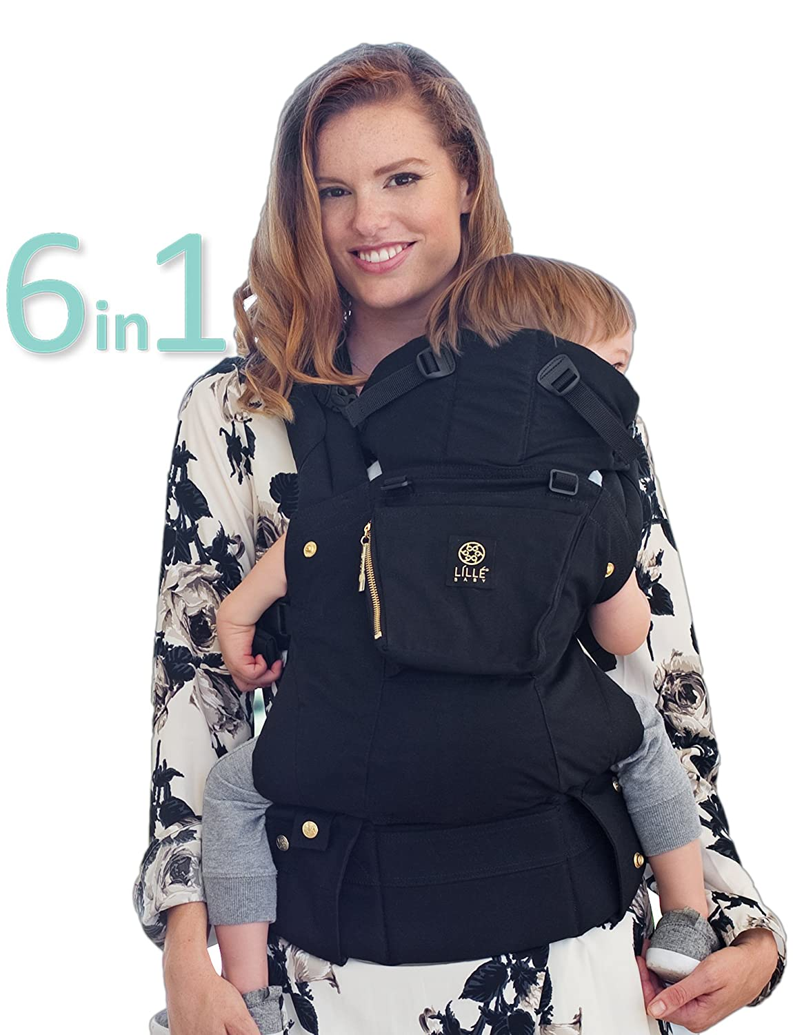 LÍLLÉbaby The COMPLETE Original SIX-Position, 360° Ergonomic Baby & Child Carrier, Charcoal/Black - Cotton Baby Carrier, Comfortable and Ergonomic, Multi-Position Carrying for Infants Babies Toddlers LILLEbaby SC-1C-104P