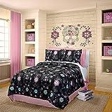 "Veratex 100% Micro-Fiber ""Rainbow Skulls"" Trendy & Modern 3-Piece Girls Comforter Set, Twin Size, Black"