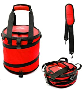 24 Can Pop Up Cooler Bag, Collapsible Insulated Tote with Shoulder Strap | Portable Heavy Duty Nylon Folding Ice Chest for Hiking, Camping, Travel, Picnic, BBQ | Window Flap & Bottle Opener (Red)