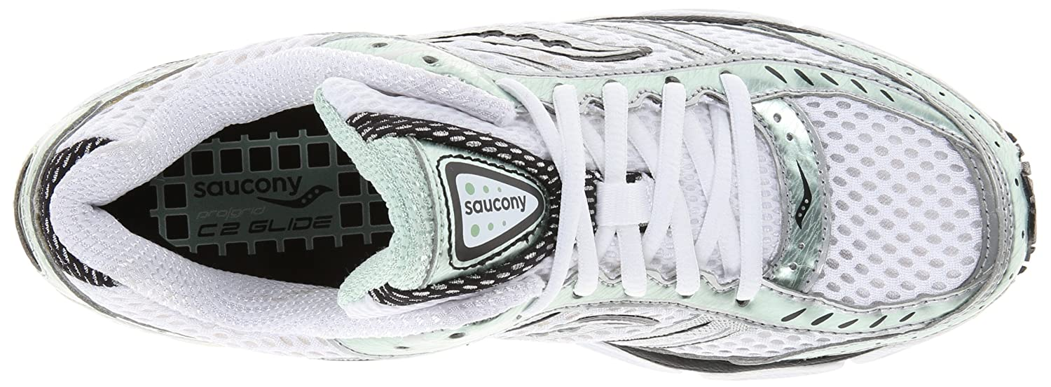 Saucony Mens ProGrid C2 Glide Running Shoe White//Green//Silver 6 M