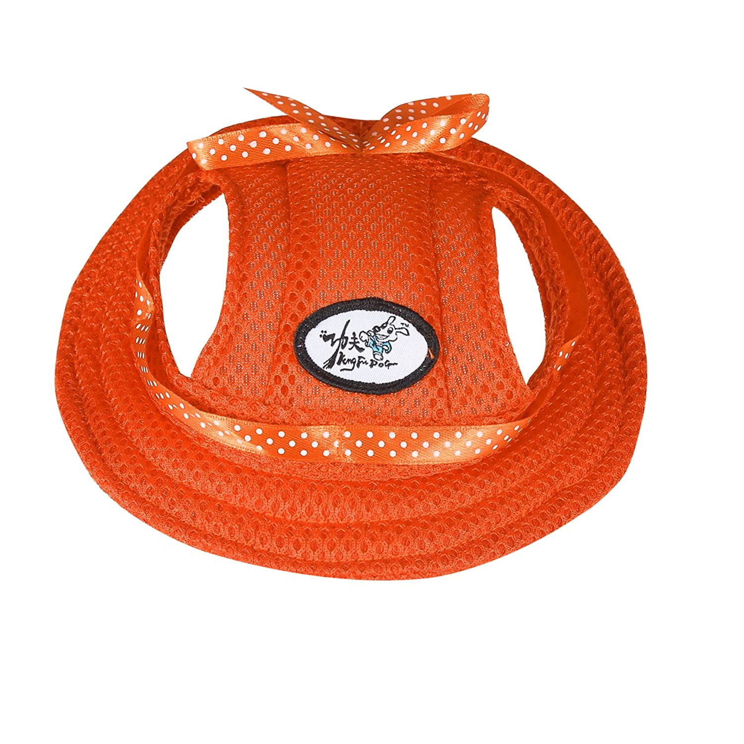 ONEDONE Princess Mesh Style Sun Hat with Ear Holes for Small Dogs and Cats(orange)
