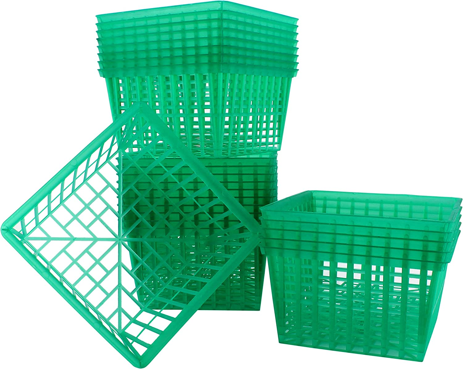24-Pack Quart Size Plastic Berry Baskets; 5 ½-Inch Green Berry Boxes w/Open-Weave Pattern; Ideal for Berries, Fruit, Vegetables & Craft Projects