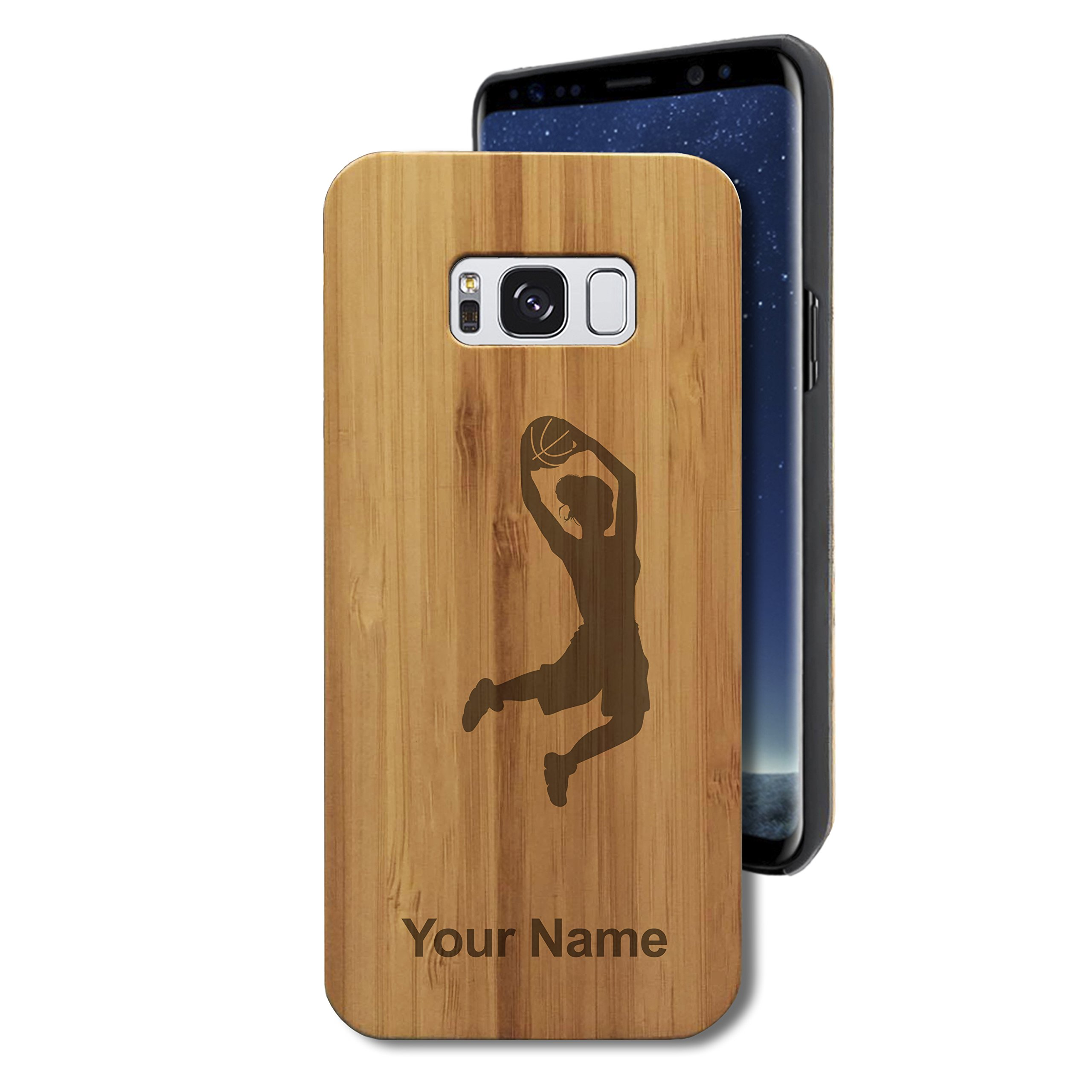 Bamboo Case for Galaxy S8 - Basketball Slam Dunk Woman - Personalized Engraving Included