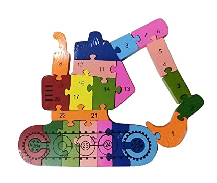NPRC Alphabet and Number Wooden Jigsaw Puzzle - Excavator