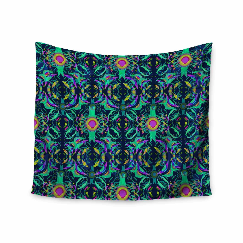 Kess InHouse Miranda MOL Boho Ornament Teal Purple Pattern Abstract Mixed Media Digital 68 x 80 Wall Tapestry