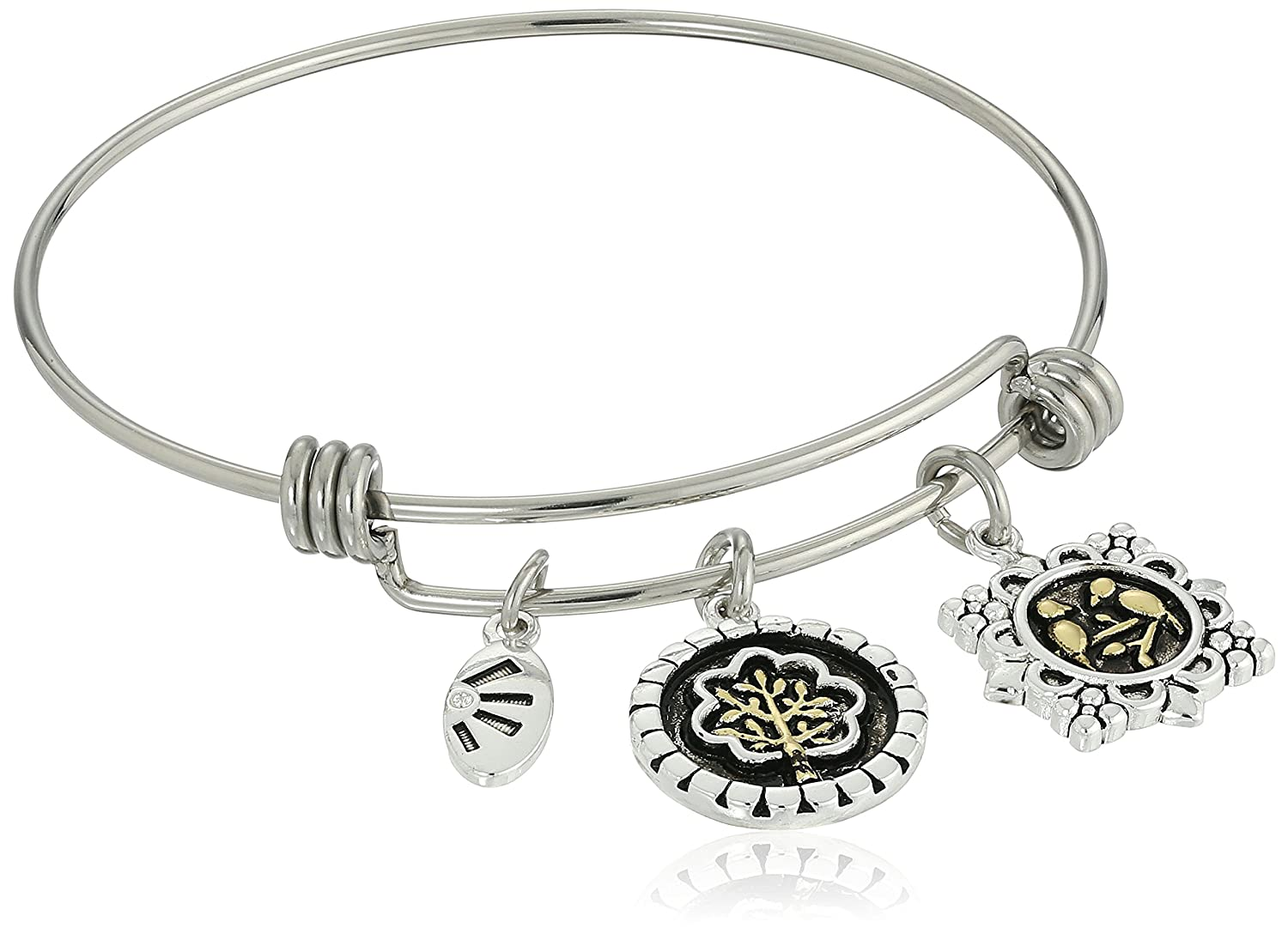 You Brighten My Day in a Lovely Way Adjustable Bangle Bracelet Two-Tone Silver Plated Our Lives May Grow in Different Directions Yet Our Roots Remain as One