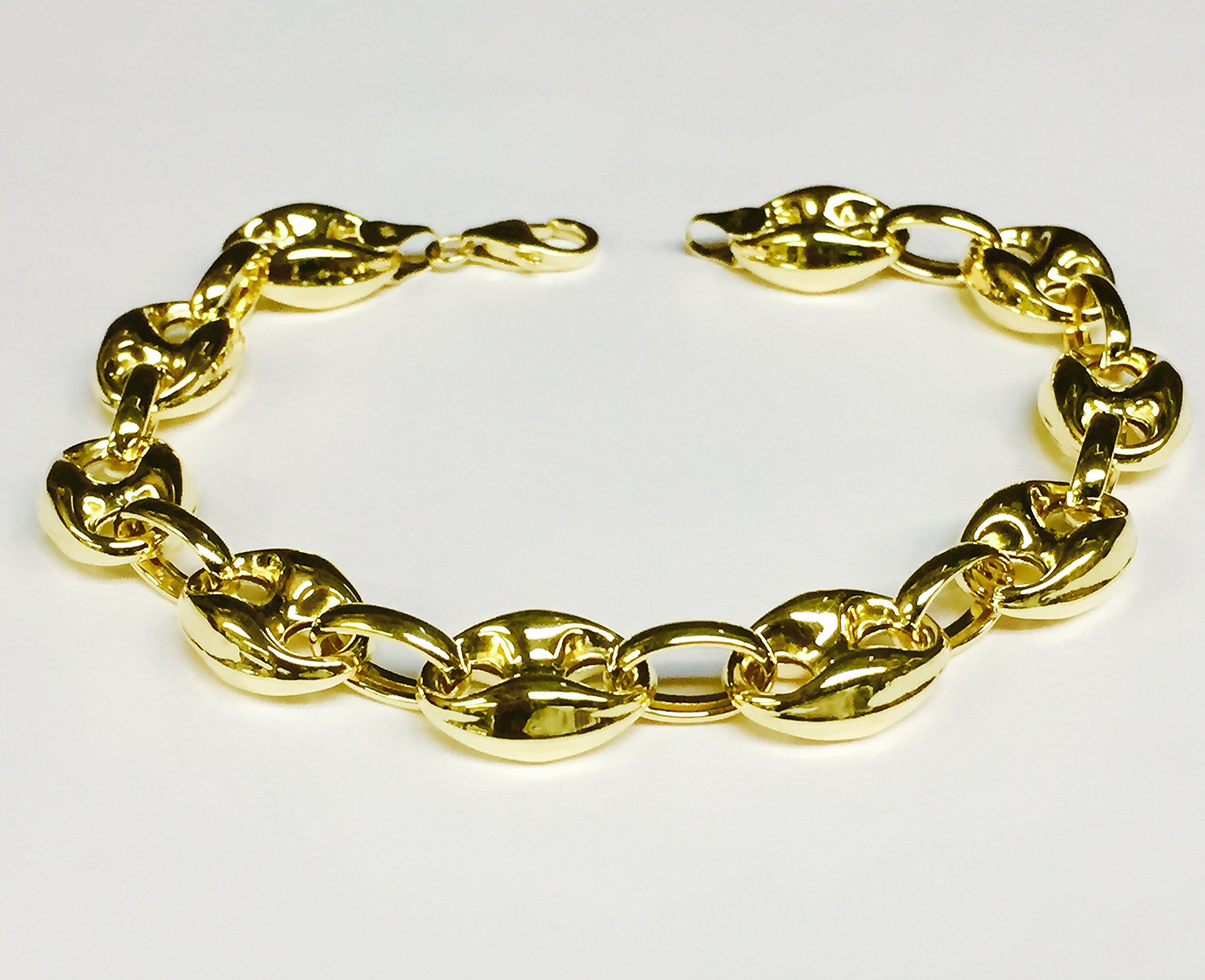 14k Yellow Gold Puffed Anchor Mariner 7.5'' link bracelet 11 MM 9 grams by TEX (Image #2)