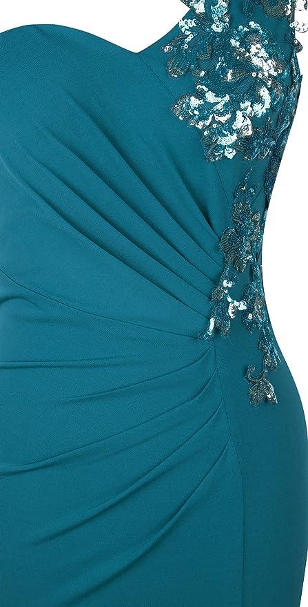 Angel-fashions Womens One Shoulder Sequin Applique Ruched Split Long Dress XXLarge: Amazon.co.uk: Clothing