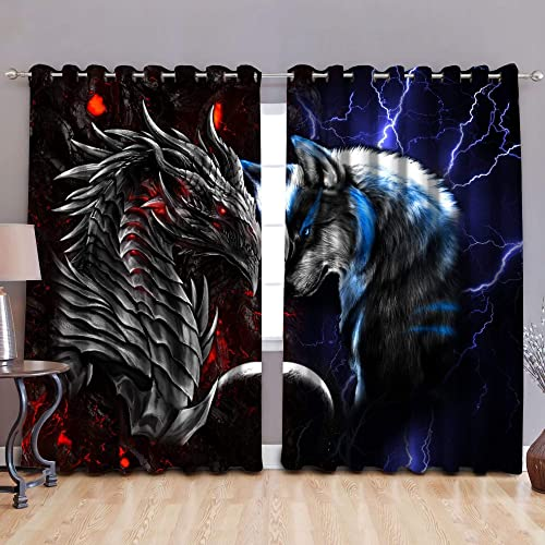 Red Blue Dragon and Wolf Thermal gromme Window Treatment Set Window Curtains 4 Drape Panels Curtains