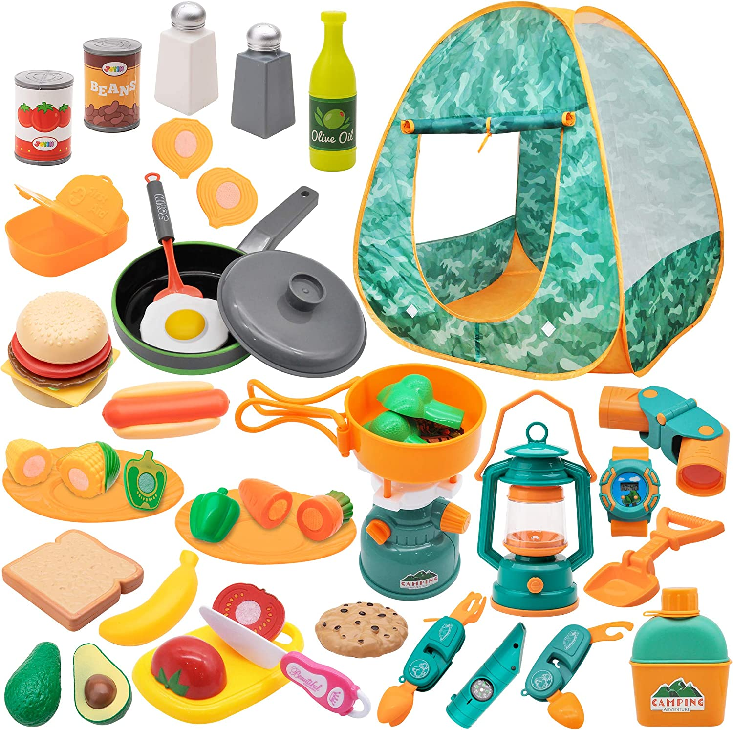 JOYIN Kids Camping Set with Tent 40+ pcs Camping Gear Tool Pretend Play Set for Kids Toddlers Indoor and Outdoor Toy Birthday Gift