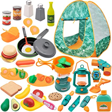Amazon Com Joyin Kids Camping Set With Tent 40 Pcs Camping Gear Tool Pretend Play Set For Kids Toddlers Indoor And Outdoor Toy Birthday Gift Toys Games