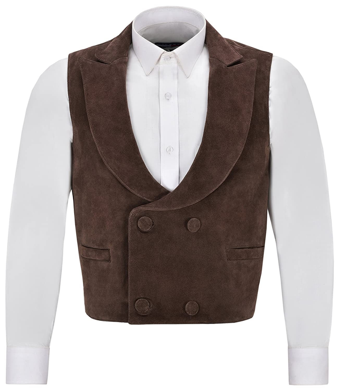 Men's Vintage Vests, Sweater Vests Edwardian Mens Suede Leather Waistcoat Brown | Double Breasted Real NAPA 3281 £55.00 AT vintagedancer.com