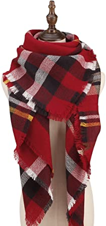 Cherry Cat Oversized Blanket Scarf Fall Plaid Shawl