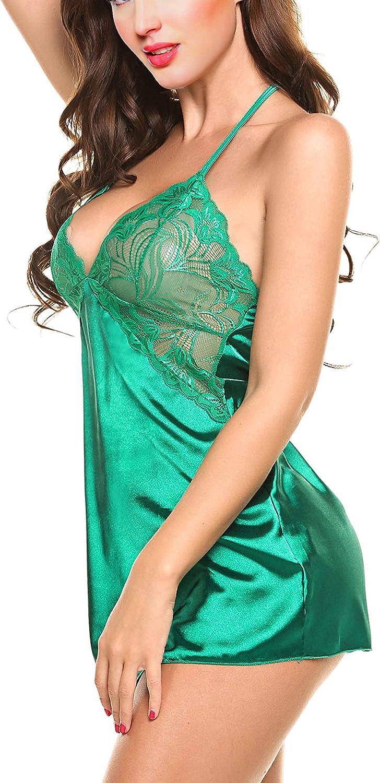 elegante satin sexy con biancheria intima Aogolouk Chimono in seta da donna Pizzo Della Biancheria Babydoll indumenti da letto Capestro