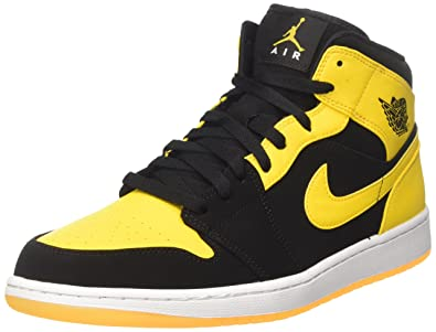 new product 3c969 bf740 Nike Air Jordan 1 Mid, Baskets Basses Homme, Black (Black/varsity Maize