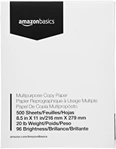 "AmazonBasics Copy Paper - 96 Bright, 8.5"" x 11"", 1 Ream (500 Sheets) (AZ851120HB1R)"
