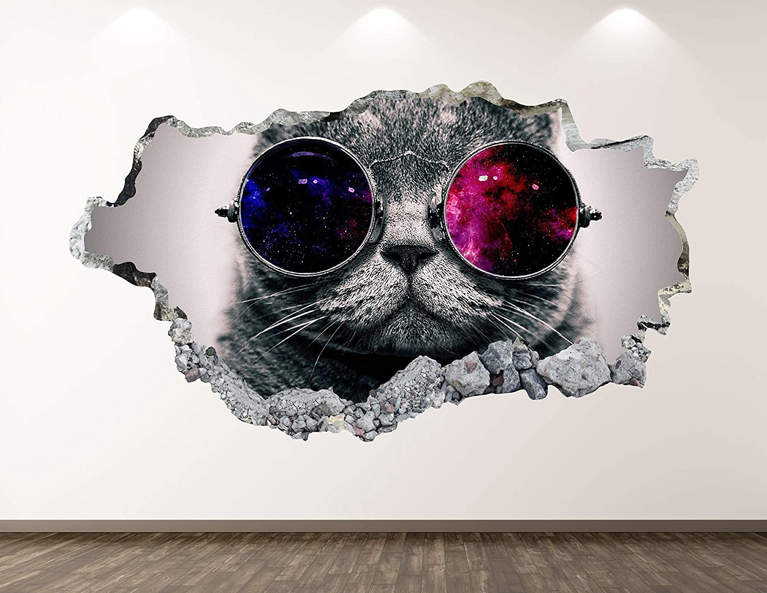 West Mountain Space Cat Wall Decal Art Decor 3D Smashed Kids Animal Sticker Mural Nursery Boys Gift BL22 (22